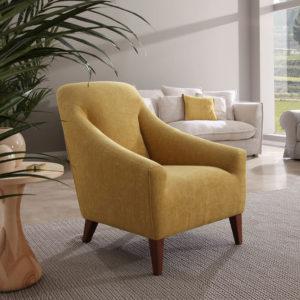 VERA butaca tapizado terciopelo amarillo
