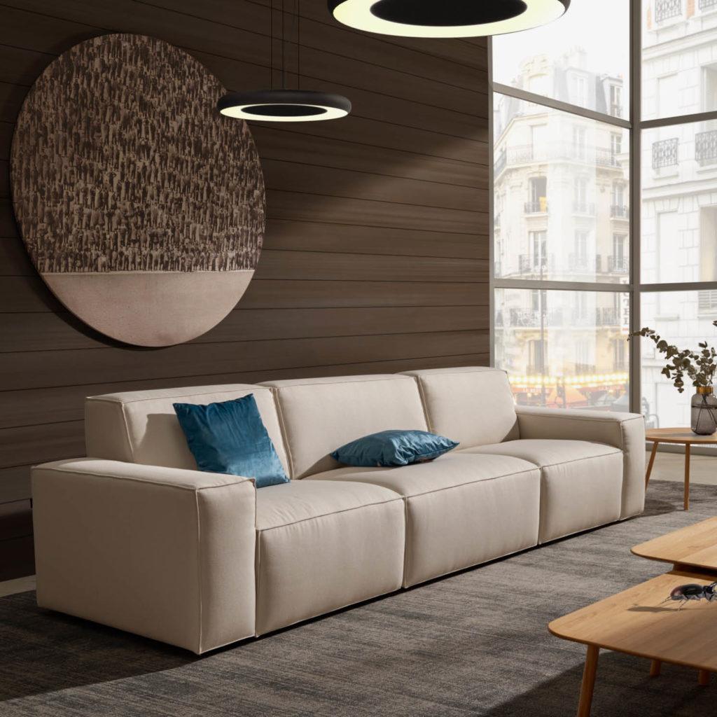 Sofá tapizado tela luca ideal para espacios comunes