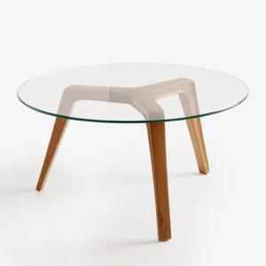 ICON mesa auxiliar madera de roble y cristal