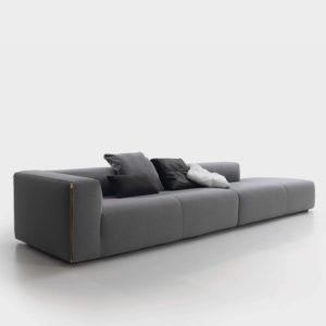 SUIT sofa largo tapizado gris oscuro