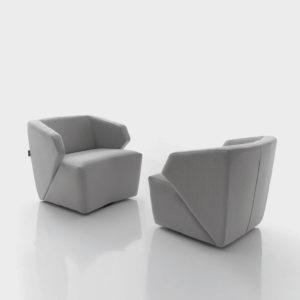 butacas DELP tapizadas gris