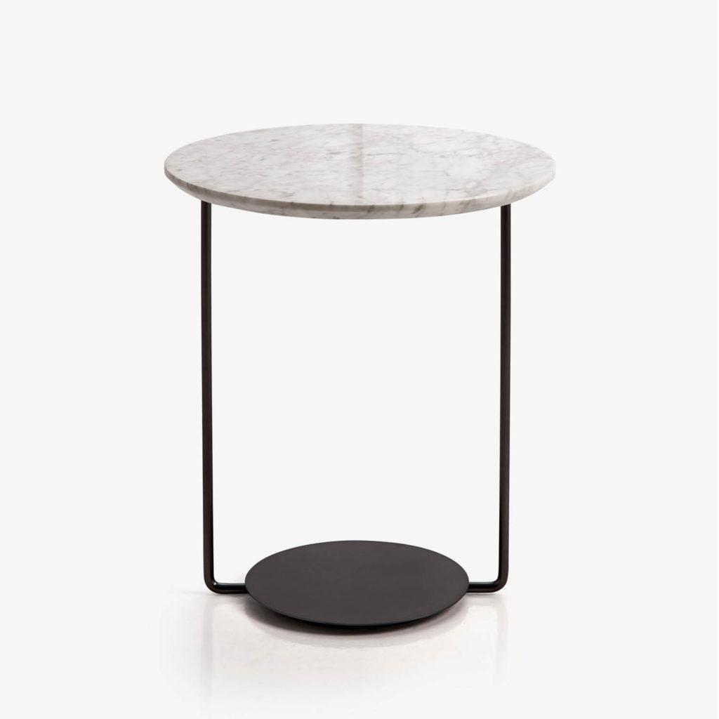 DOMO mesa auxiliar redonda marmol blanco